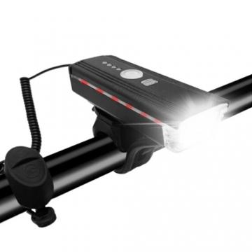 Велофара 300Lumen,звонок,выносная кнопка,индикация, USB,акк,,датчик света